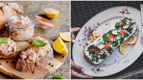 Suviselt kerged õhtusöögid: kreemjas külmsuitsuforelliga võileivarull ja mitmekülgne forellikreem.